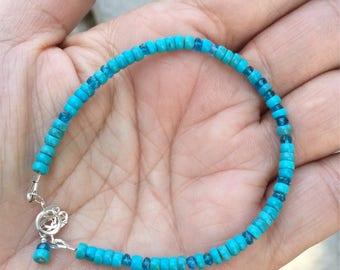Turquoise Bracelet, Nacorari Turquoise, Skinny Bracelet, Gemstone Bracelet, Blue Bracelet, Apatite, Beaded Bracelet, Unisex Bracelet, Dainty