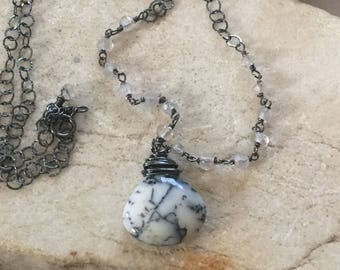 Dendrite Opal Necklace, Crystal Quartz Necklace, Oxidized Chain, Natures Splendour, Black and White Necklace
