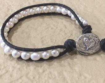 Leather and Pearls, Black Leather Bracelet, Brown Leather Bracelet, Trendy Bracelet, Natures Splendour, White Pearl Bracelet, Edgy Bracelet