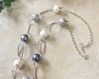 Pearl Necklace, Designer Chain, Gray Pearls, White Pearls, Peacock Blue Pearls, Natures Splendour, Modern Pearl Necklace, June Birthday