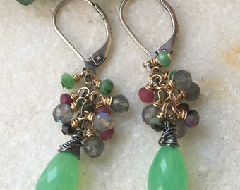 Chrysoprase Ruby in Zoisite Labradore Dangle Earrings in Oxidized Sterling Silver and Gold Filled  Natures Splendour