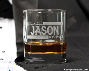 Personalized Whiskey Glasses, Groomsmen Rocks Glass, Groomsmen Gift Ideas, Personalized Whiskey Drinking Glasses, Bourbon, Bachelor