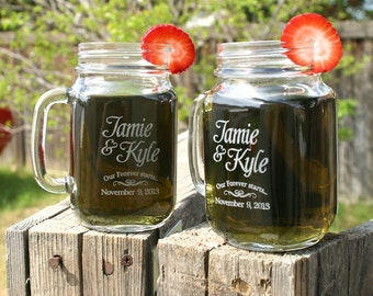 Wedding Shower Gift, Save the date, Engaged Mug, Engagement Gifts for Couple, Set of 2 Mason Jar Mugs for Engaged Couples Gift
