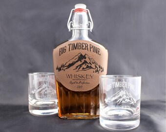 Whiskey Decanter, Decanter Set, Engraved Decanter and Glasses Set, Boyfriend Christmas Gift, Decanter and glass set