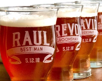 3 Groomsmen Glasses, Personalized, Groomsmen Beer Mugs, Groomsmen Pilsner Glass, Custom Groomsmen, Beer Glass,  Groomsmen Beer mug