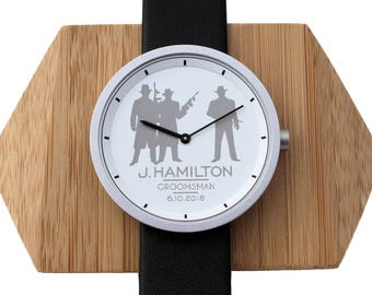 Groomsmen Engraved Watch Gifts, Groomsmen Watches, 12 Designs, Black White Wedding Watches, Watch Box Set Gift for Groomsmen, Groom Watch