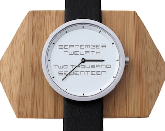 Mens Gifts I can Personalize, Save the Date Watch, Custom Message Engraved on Men's Watch Face, Simple gifts for him,Groom Gift,Grandpa Gift