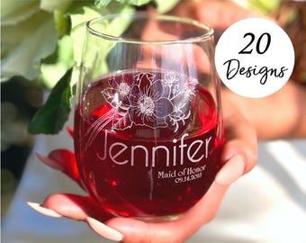 Matron of Honor Proposal Gift, Wine glass, Set of 3 Bridesmaid Wine Glasses, Bridesmaid Thank you Gift, Bridesmaids Gift Set of 3