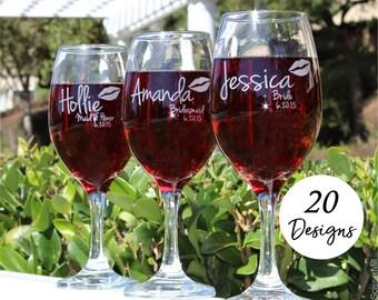 Custom Wine Glasses, Bridesmaid Gift, Set of 4, Wine glasses Bridesmaid, Bridesmaid Gift Ideas, 4 Bridesmaid wine glasses