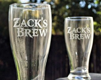 Etched Glass, Personalized Beer Set, Custom Gift for Him, Birthday Gift for Men, Custom Drinking Glasses, Pilsners, beer gift, custom beer