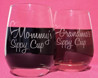 Mommys Sippy Cup, Stemless Wine Glass, Gifts for Grandma, Grandmas Sippy Cup, Gift for her