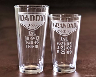 Personalized Dad Glass, Fathers Day, Dad Beer Mug w/his kid's birth dates, Dad Gift, Papa, Grandpa, New Dad, First Fathers Day