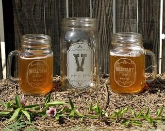 Beer Unity Set : (2) Mason Jar Glasses & (1) Wide Mouth Canning Jar, Home Brew Wedding, Rustic Wedding Decor Unity Candle Alternative