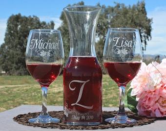 Unity Set for your Wedding Ceremony - (2)Wine Glasses & (1) Matching Carafe, Custom Wedding Unity, Etched Glass