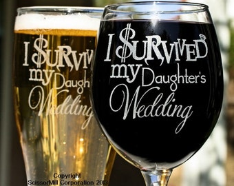 Wedding gift parents etsy parents wedding gift i survived my daughters wedding mom dad wedding gift glasses gift for inlaws mother father of the bride junglespirit Images