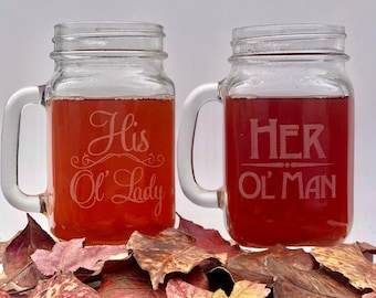 Old Man Old Lady Mason Jar Mugs, Funny His and Hers Mugs, Anniversary Gift for him, Hubby and Wifey Mugs, Anniversary gift for husband