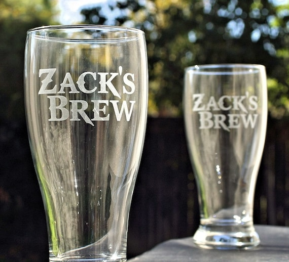 etched glass personalized beer set custom gift for him etsy