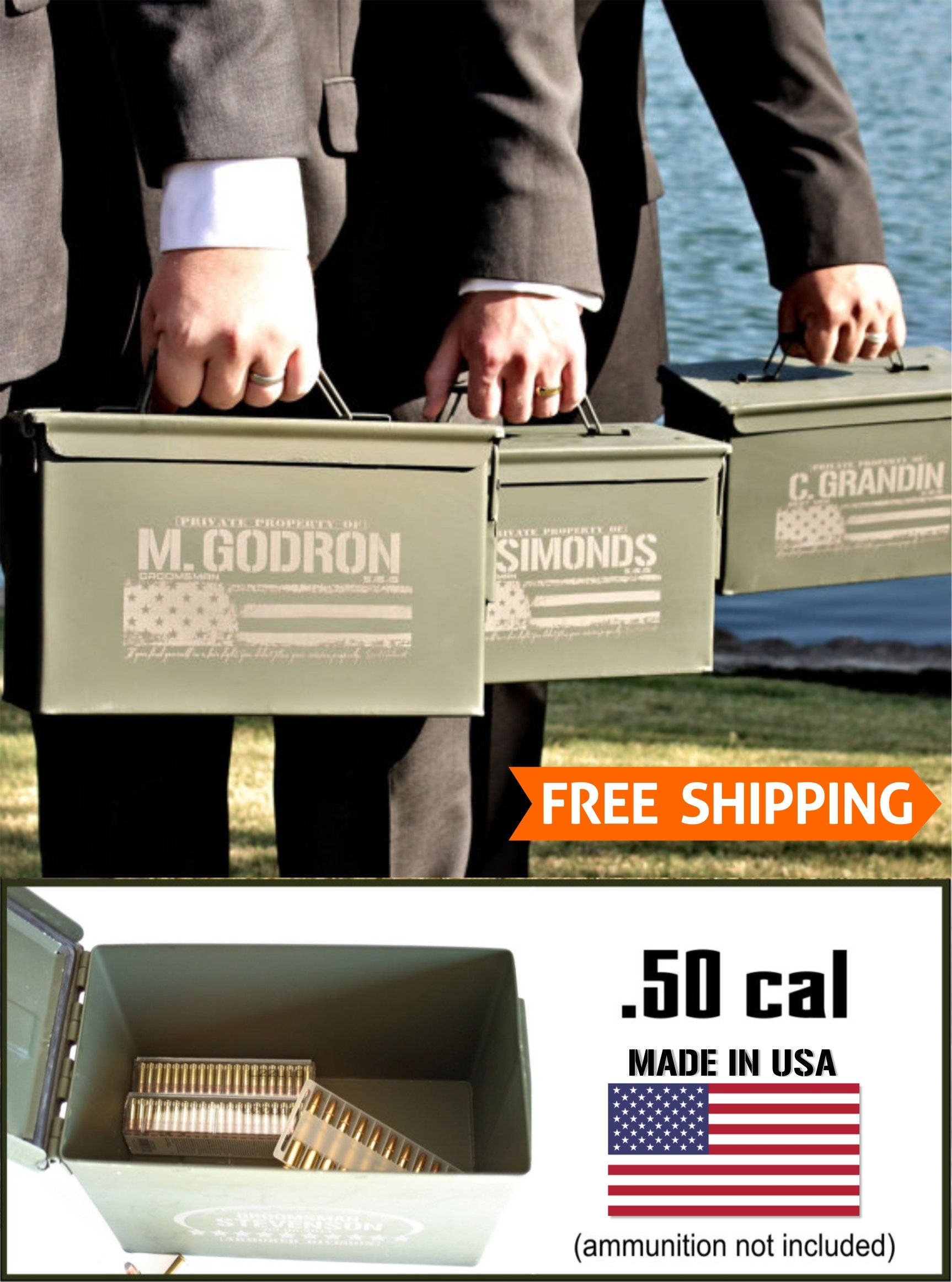 Best Man Gift Personalized Groomsmen Gift Box Father Of The Bride Ammo Box American Flag Ammo Can
