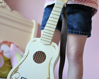 Personalized Kids Toy Guitar, Wooden Toys for Kids, Kids Room Sign, Gifts for Kids, Music Instrument, Kids Birthday gifts