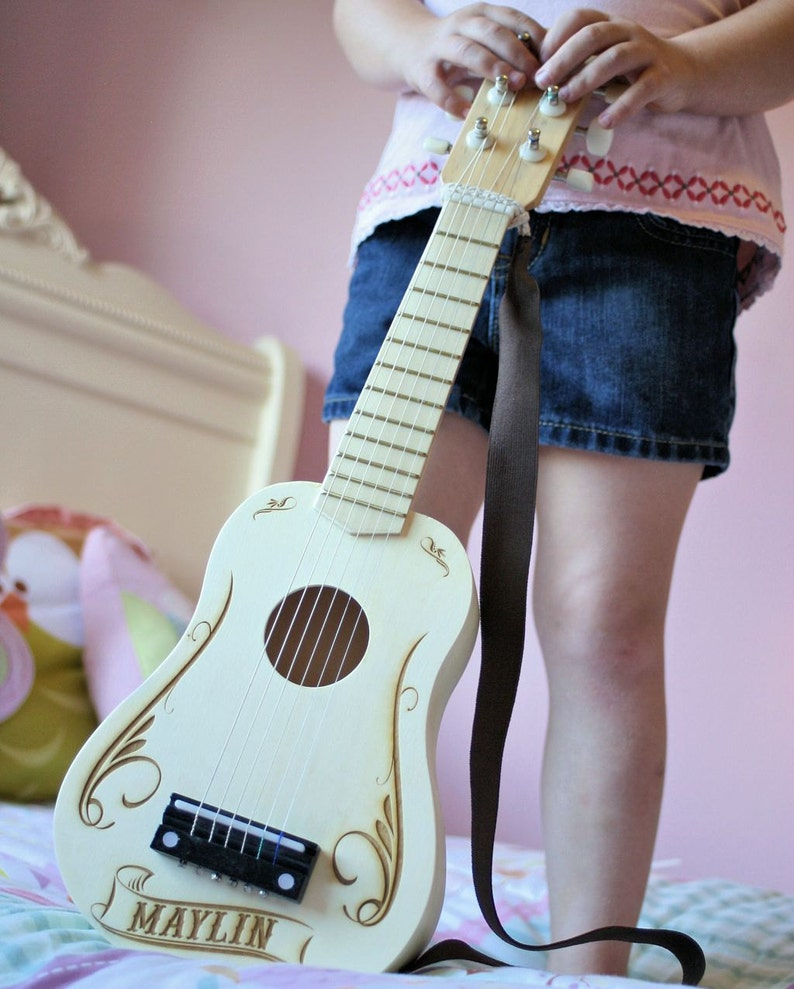 Personalized Kids Toy Guitar Wooden Toys for Kids Kids Room image 0