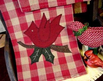 New Primitive Christmas RED TICKING STRIPED CARDINAL BIRD TOWEL Tea Dish Hand