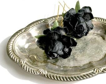Black flower hair pins, rose chignon clips, floral hair piece, halloween hair accessories, black wedding, hair accessory