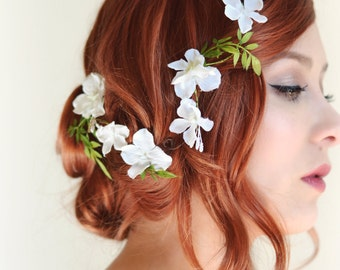 White flower hair vine, Bridal headpiece, Wedding hair accessory, floral hair clip by Gardens of Whimsy - Lore