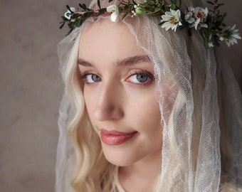 Camelot - boho wedding crown, medieval headpiece, wildflower crown, white floral crown, blush flower hair wreath, renaissance leafy circlet