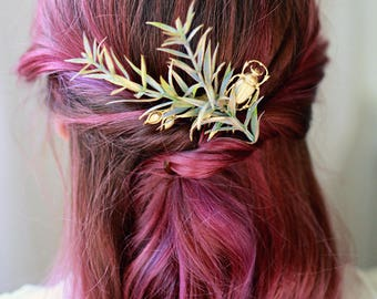 Gold leaf headpiece, rosemary and scarab hair adornment, vintage inspired hair comb, insect accessory, beetle comb, antique gold hair comb