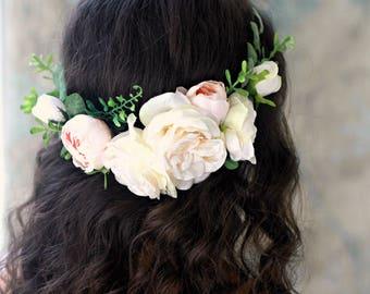 Peach floral crown, Blush pink flower crown, bridal flower headpiece, wedding hair wreath, spring floral head piece, rose circlet, accessory