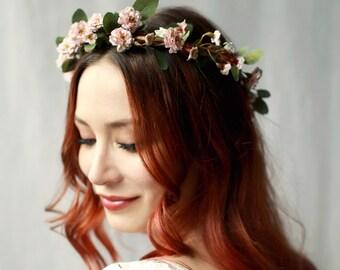 Bridal hair crown, wild rose hair wreath, blush pink flower crown, boho flower headpiece, dusky pink wedding crown, circlet, hair accessory