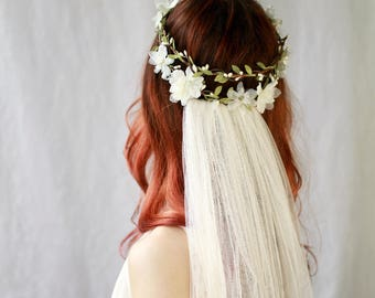 Boho Wedding Flower Crown, Bridal Crown, Ivory Flower circlet, Woodland Hair Wreath, Wedding Accessory, Floral Hair Bouquet -- Crown Only