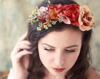 Rustic flower crown, vibrant floral headpiece, autumn hair wreath, flower circlet, fall hair accessories, woodland hair crown, boho wedding