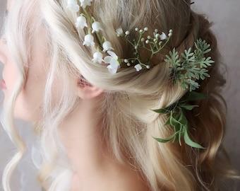 Ophelia - eucalyptus hair pins, greenery foliage clips, flower hair clip, bridal hair pin set, wedding hair piece, boho bride accessories