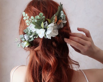 Secret Garden - woodland headpiece, monarch butterfly comb, boho bride hair comb, white flower head piece, floral fern comb, wedding clip