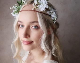 Evelyn - Woodland wedding flower crown, baby's breath crown, white floral headband, bridal tiara, greenery wreath, boho wedding headpiece