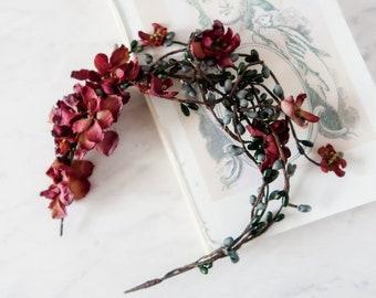 Rustic twig crown, woodland headband, boho hair crown, mauve flower crown, autumn hair vine, branch head piece, fall hair accessories