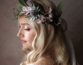 Rhiannon - Thistle crown, floral hair wreath, laurel headpiece, bridal flower crown, woodland fairytale headpiece, renaissance wedding crown