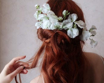 Odette - whimsical white floral headpiece, bridal flower comb, shabby chic wedding head piece, garden party hair accessories, statement clip