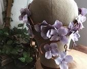 Bridal crown, floral headpiece, woodland circlet, wedding hair accessory, fairytale hair wreath, lavender flower crown, whimsical hair vine