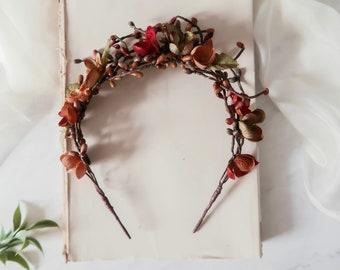 Rustic fall twig crown, woodland branch headband, boho hair crown, autumn hair vine, floral head piece, flower tiara, fall hair accessories