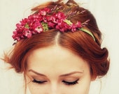 Floral headband, pink flower crown, hair accessories, romantic floral crown, bridal headpiece, hair accessory - Francesca