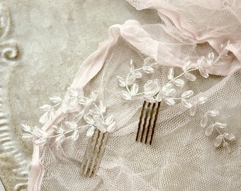 Crystal hair combs, wedding hair comb, crystal fern combs, white wedding hair piece, bridal hair adornment, whimsical hair accessories