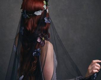 Woodland wedding crown, gothic bridal headpiece, purple flower crown, woodland hair wreath, black wedding veil, hair accessories - Maeve