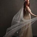 Woodland floral crown, long ivory veil, blush pink headpiece, whimsical wedding crown, wedding veils, flower halo, circlet, tiara -Flora