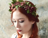 Autumnal flower crown, woodland headband, leaf crown, floral headpiece, hair wreath, mauve flower crown, hair accessories, flower girl crown