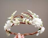 Woodland bridal hair wreath, white flower crown, floral wedding headpiece, flower circlet, hair accessories