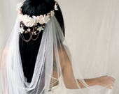 Bridal vine crown, White flower crown, Blush floral circlet, Wedding crown headpiece, Elegant hair wreath, Floral hair bouquet - Crown Only