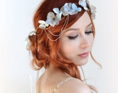 Silver crown, wedding headpiece, grey floral crown, hair wreath, art nouveau headdress, bridal hair accessories - Moon garden