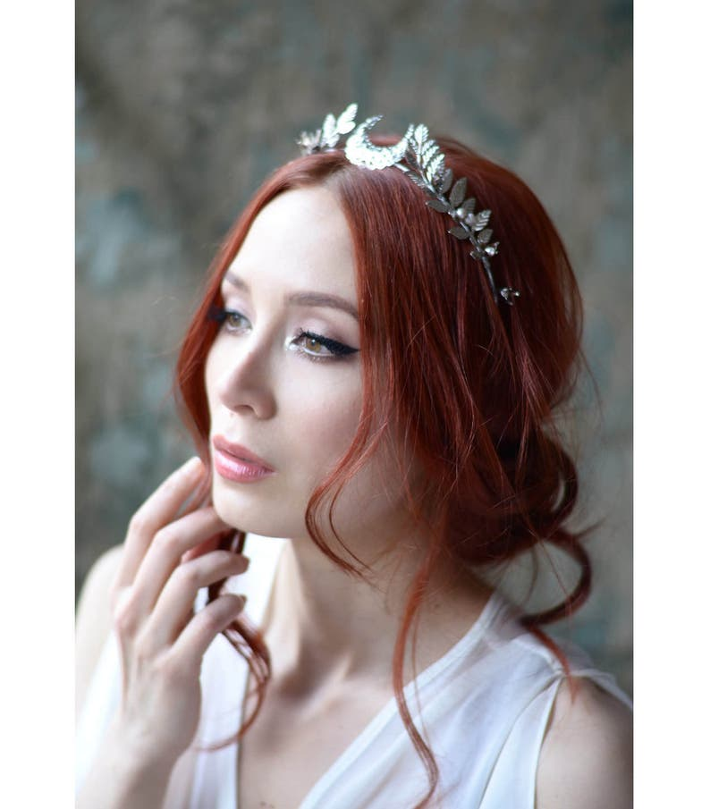 Moon tiara pearl headband silver wedding crown goddess image 0